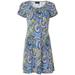 MSK Womens Paisley Puff Print Short Sleeve Swing Dress