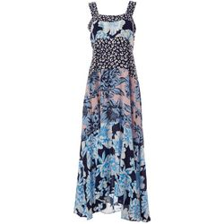 Womens Square Neck Floral Maxi Dress