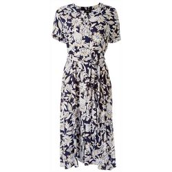 MSK Womens Printed Midi Dress With Wrap