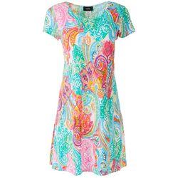 MSK Womens Printed Short Sleeve Dress
