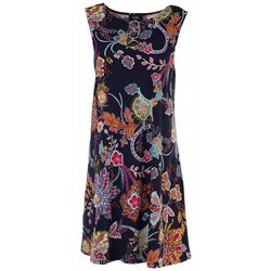 MSK Womens 3-Ring Round Neck Floral Dress