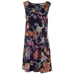 Womens 3-Ring Round Neck Floral Dress