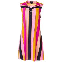 Womens Stripes Ring Accent Swing Dress