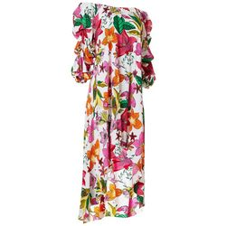 Ivy Road Womens Floral Off The Shoulder Dress