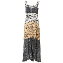 MSK Womens Square Neck Marble Print Maxi Dress