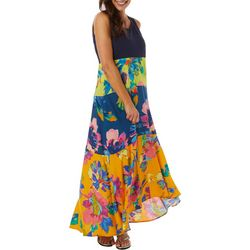 Womens Round Neck Floral Print Sheer Layered Maxi Dress