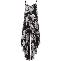 Womens Sleeveless Floral V-Neck Challis Jumpsuit