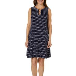 MSK Womens Polka Dot Ring Neck Dress