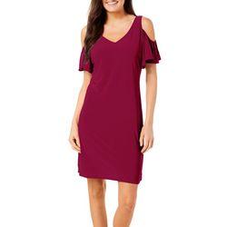 MSK Womens Solid Cold Shoulder Dress