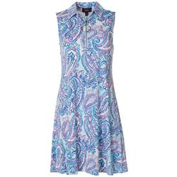 Womens Floral Design Zip Neck Sleeveless Swing Dress