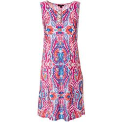 MSK Womens Paisley Printed Ring Neck Sleeveless Dress
