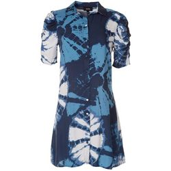 MSK Womens Puff Short Sleeve Tie Dye Print Dress