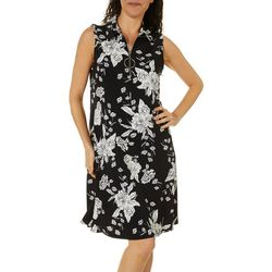 MSK Womens Floral Puff Print Zip Neck Sleeveless Swing Dress