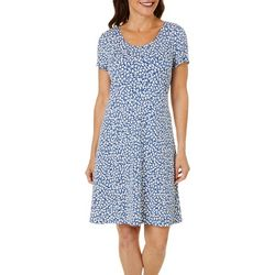 MSK Womens Ditsy Puff Print Short Sleeve Swing Dress