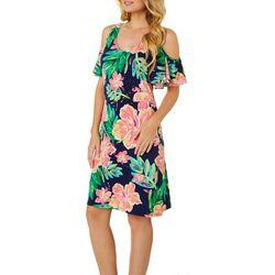 MSK Womens Floral Puff Print Cold Shoulder Dress