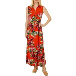 MSK Womens Floral Print Zip Neck Sleeveless Maxi Dress