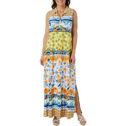 MSK Womens Sleeveless Floral Print Zip Neck Maxi Dress