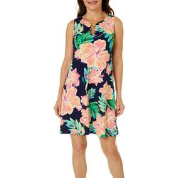 MSK Womens Floral Puff Print Ring Neck Sleeveless Dress