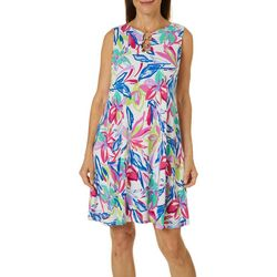 MSK Womens Sleeveless Bright Floral Print Ring Neck Dress