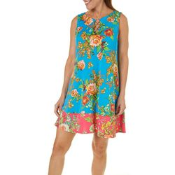 MSK Womens Rose Print Ring Neck Dress