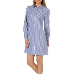 MSK Womens Pin Striped Ring Back Shirtdress