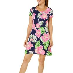 MSK Womens Hibiscus Print T-Shirt Dress