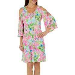 MSK Womens Floral Caged Cold Shoulder Dress