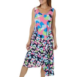 MSK Womens Mixed Floral Snap Front Sundress