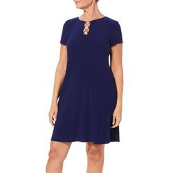 MSK Womens Solid Ring Neck T-Shirt Dress