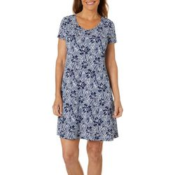 MSK Womens Floral Puff Print T-Shirt Dress