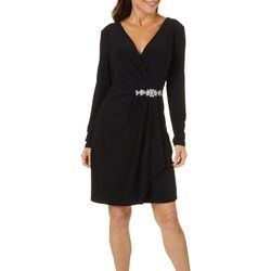 Womens Long Sleeve Embellished Faux-Wrap Dress