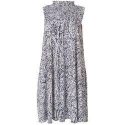 MSK Womens Smocked Printed Sleeveless Swing Dress