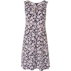 MSK Petite Daisy Ringed Sleeveless Swing Dress