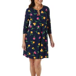 MSK Womens Quarter Sleeve Floral Print Ring Neck Dress