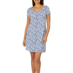 MSK Womens Floral Print T-Shirt Dress