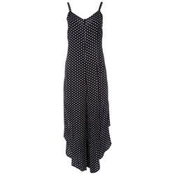 Womens Detailed Neck Polka Dot Jumpsuit