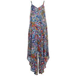 Womens Detailed Neck Floral Jumpsuit