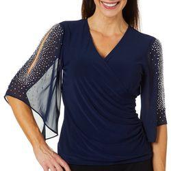 MSK Womens Solid Faux-Wrap Rhinestone Sleeve Top