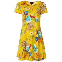 MSK Womens Floral Ring Neck Short Sleeve Swing Dress
