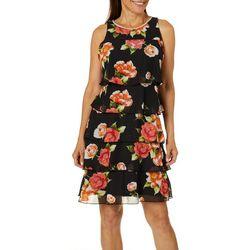 MSK Womens Floral Print Jewel Neck Ruffle Tier Dress