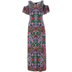 Womens Cold Shoulder Floral Maxi Dress