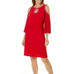 MSK Womens Glitzy Cold Shoulder Shift Dress