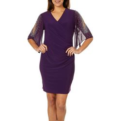 MSK Womens Embellished Faux-Wrap Dress
