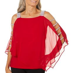 MSK Womens Embellished Cold Shoulder Poncho Top