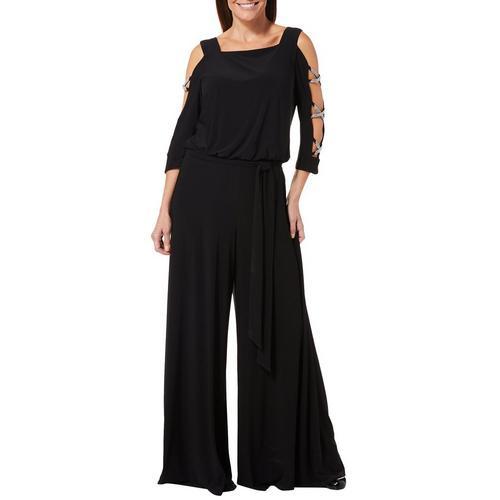 7b73949e4d2 MSK Womens Glitzy Tie Waist Caged Jumpsuit