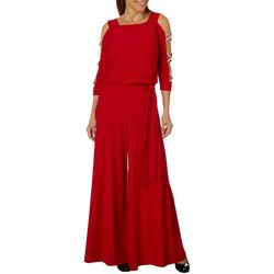MSK Womens Glitzy Caged Tie Waist Jumpsuit