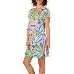 MSK Womens Tropical Leaf T-Shirt Dress