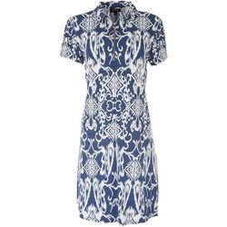 MSK Womens Neck Zipper Short Sleeve Dress