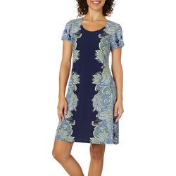 MSK Womens Mirrored Paisley Puff Print Dress