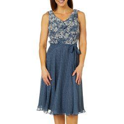 MSK Womens Mixed Floral Tie Waist Dress